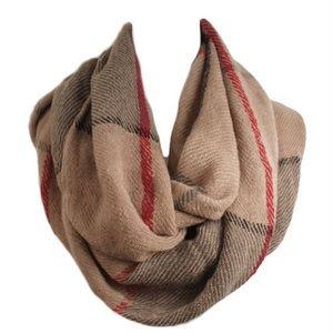 1 LEFT! Camel plaid infinity scarf
